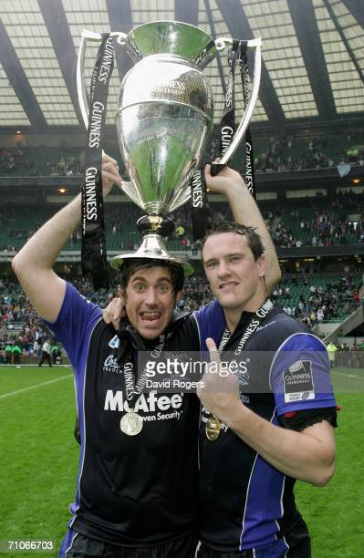The Sale Second Row pairing of Ignacio Fernandez Lobbe and Chris Jones pose with the trophy following their team's victory during the Guinness...