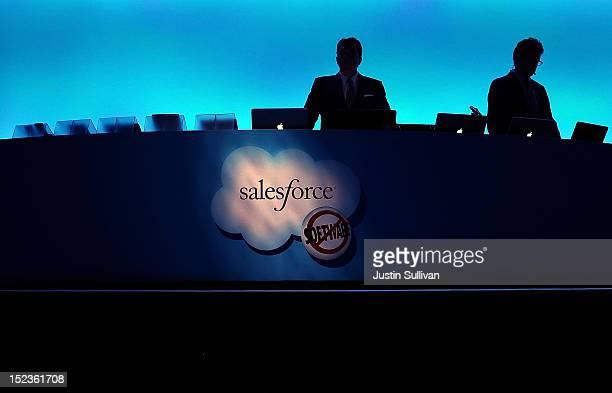 The Salesforce logo is displayed on a podium during the Dreamforce 2012 conference at the Moscone Center on September 19 2012 in San Francisco...