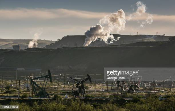 The Salinas River flows through the middle of one of California's largest steam injection oil fields Chevron's San Ardo Oil Field as viewed on March...