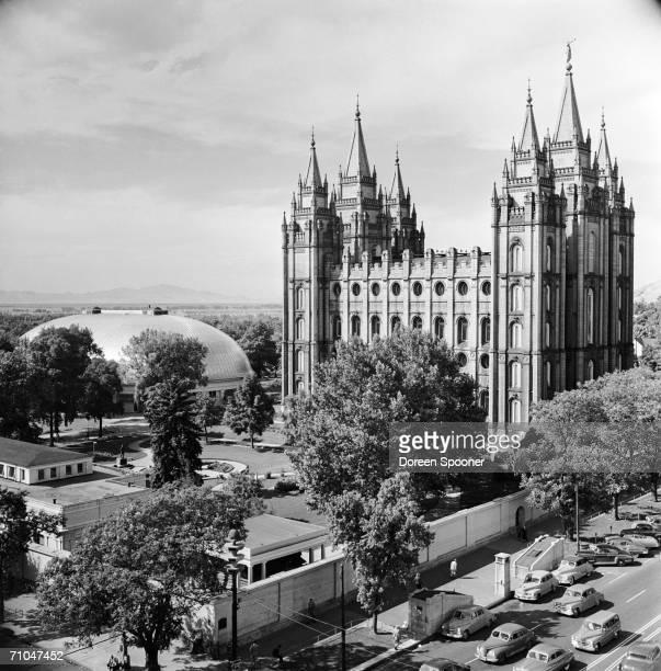The Salt Lake mormon Tabernacle and Temple in Temple Square Salt Lake City Utah November 1950