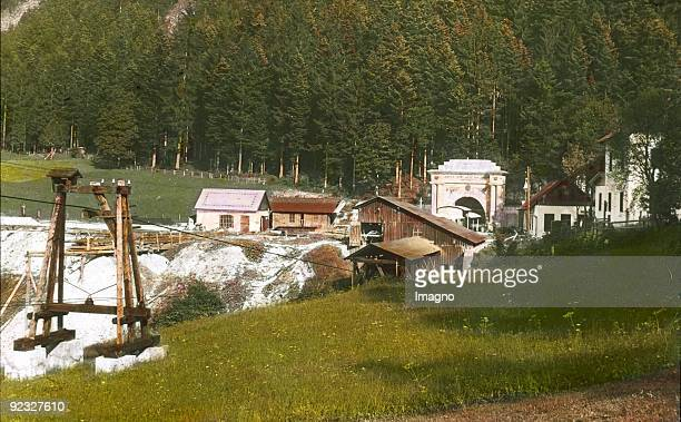 The salt mine in Lauffen Salzkammergut Upper Austria Handcolored lantern slide 1923