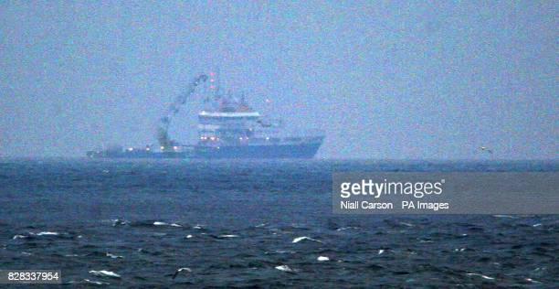 The salvage ship Granuaile as it attempts to raise the wreck of the Rising Sun fishing boat which sank six miles from Kilmore Quay in Wexford in...