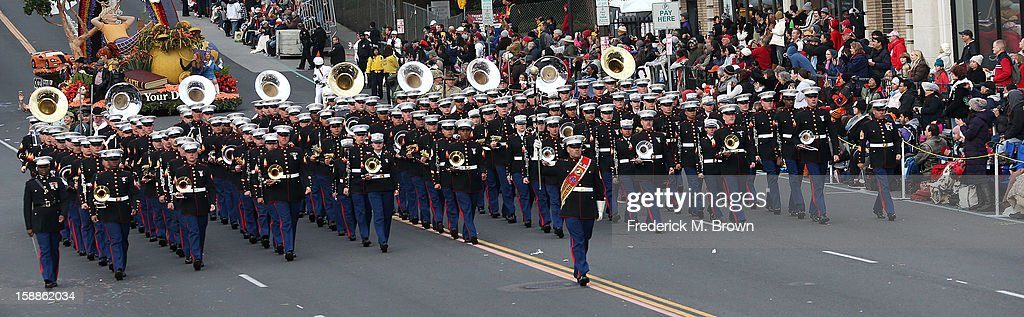 The Salvation Army Marching Band on the parade route during the 124th Rose Parade Presented By Honda on January 1, 2013 in Pasadena, California.