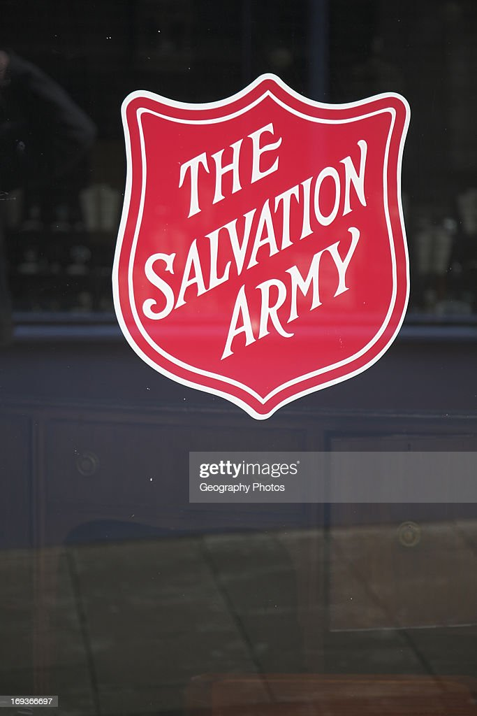 The Salvation Army sign on glass window