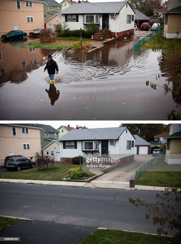 A man walks through a flooded street after Superstorm Sandy, on October 30, 2012, in Little Ferry, New Jersey. LITTLE FERRY, NJ - OCTOBER 22: (bottom) The same house is shown in Little Ferry, New Jersey October 22, 2013. Hurricane Sandy made landfall on October 29, 2012 near Brigantine, New Jersey and affected 24 states from Florida to Maine and cost the country an estimated $65 billion.