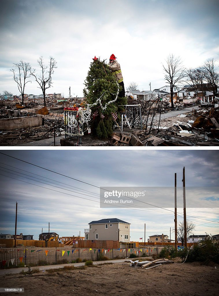 Edward 'Roaddawg' Manley, a volunteer and honory firefighter with the Point Breeze Volunteer Fire Department, places a star on top of a Christmas tree December 25, 2012 in the Breezy Point neighborhood of the Queens borough of New York City. NEW YORK, NY - OCTOBER 22: (bottom) The same section of Breezy Point is shown October 22, 2013 in the Queens borough of New York City. Hurricane Sandy made landfall on October 29, 2012 near Brigantine, New Jersey and affected 24 states from Florida to Maine and cost the country an estimated $65 billion.