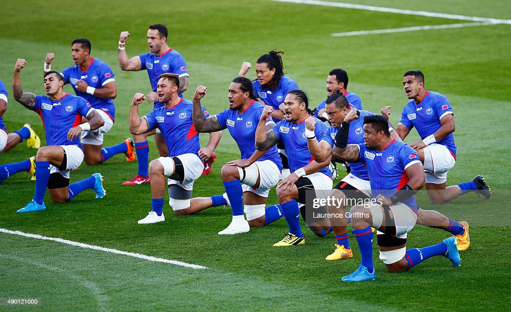 The Samoa team perform the Siva during the 2015 Rugby World Cup Pool B match between South Africa and Samoa at Villa Park on September 26 2015 in...