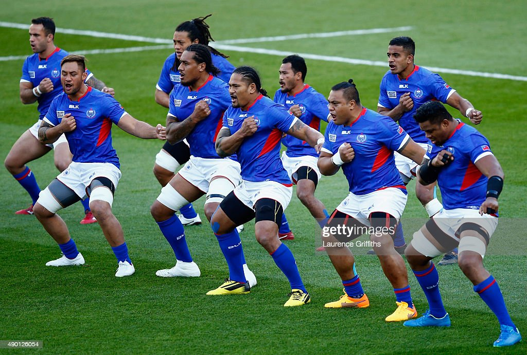 The Samoa team perform the Siva lead by Alesana Tuilagi during the 2015 Rugby World Cup Pool B match between South Africa and Samoa at Villa Park on...