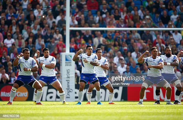 The Samoa team perform the Siva Tau during the 2015 Rugby World Cup Pool B match between Samoa and USA at Brighton Community Stadium on September 20...