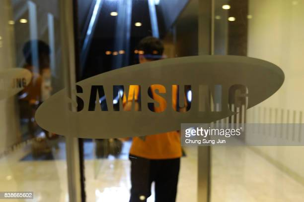 The Samsung logo is displayed at the Samsung office on August 25 2017 in Seoul South Korea Prosecutors are seeking a 12year jail sentence Lee de...