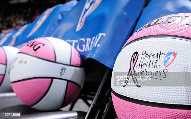The San Antonio Silver Stars commemorates Breast Cancer Health Awareness night by giving away basketballs prior to their game against the Tulsa Shock...