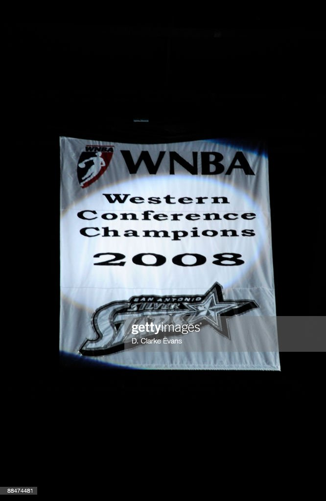 The San Antonio Silver Stars unveil their Western Conference Championship banner from the 2008 season on June 13 2009 at the ATT Center in San...