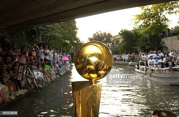 The San Antonio Spurs 2005 Larry O'Brien Championship trophy is seen during a Victory Parade in celebration of the Spurs winning 2005 NBA...