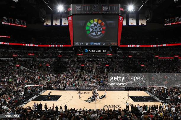 The San Antonio Spurs and the Memphis Grizzlies tipoff during Game Five of the Western Conference Quarterfinals of the 2017 NBA Playoffs on April 25...