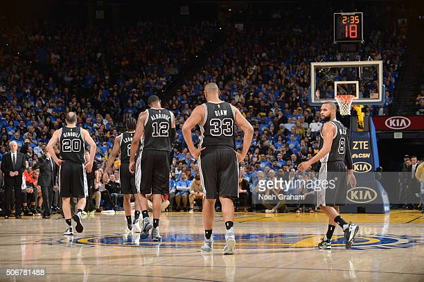 The San Antonio Spurs are seen against the Golden State Warriors on January 25 2016 at ORACLE Arena in Oakland California NOTE TO USER User expressly...