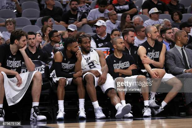 The San Antonio Spurs bench during Game One of the NBA Western Conference SemiFinals against the Houston Rockets at ATT Center on May 1 2017 in San...