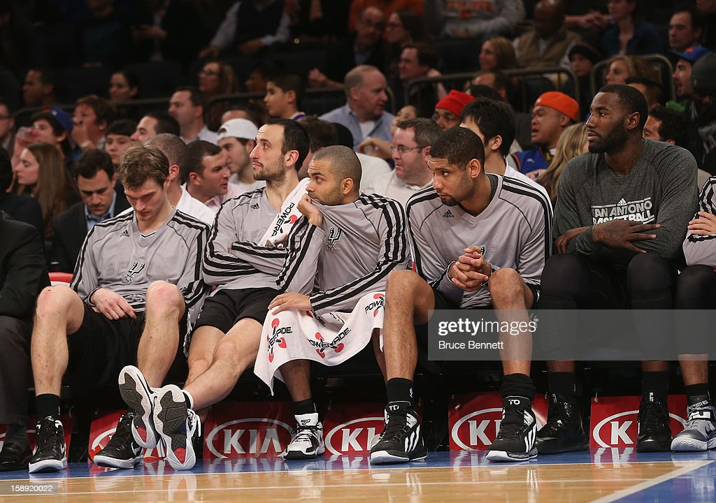 The San Antonio Spurs bench waits for the end of the game late in the fourth quarter against the New York Knicks at Madison Square Garden on January 3, 2013 in New York City.
