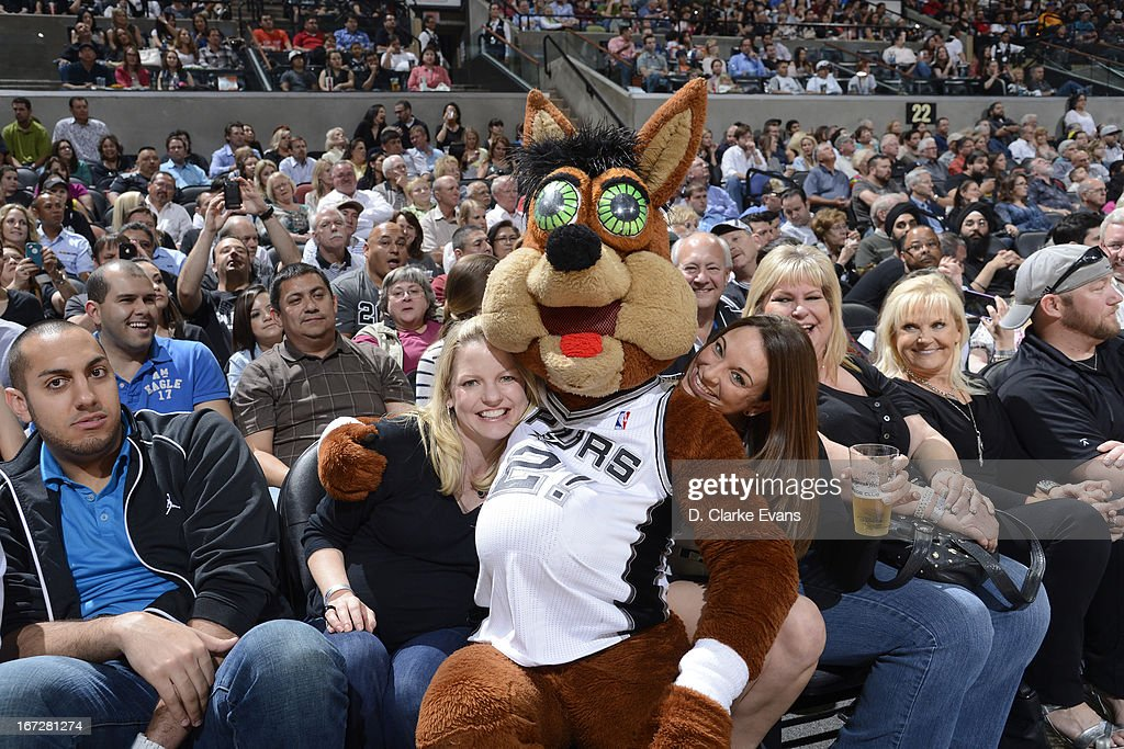 The San Antonio Spurs Coyote sits in the stands during the game against the Utah Jazz on March 22, 2013 at the AT&T Center in San Antonio, Texas.