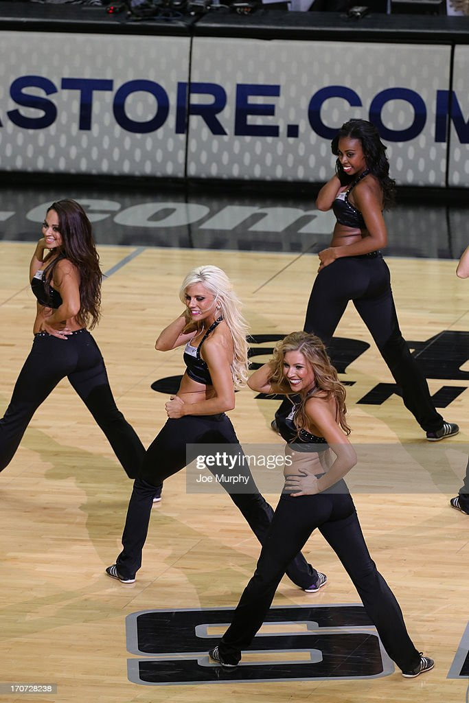 The San Antonio Spurs dance team performs during halftime of Game Five of the 2013 NBA Finals against the Miami Heat on June 16, 2013 at AT&T Center in San Antonio, Texas.
