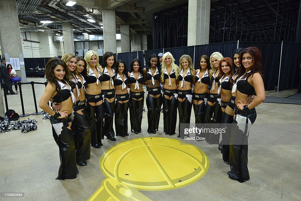 The San Antonio Spurs dance team, the Silver Dancers, pose for a photo before Game Three of the 2013 NBA Finals against the Miami Heat on June 11, 2013 at AT&T Center in San Antonio, Texas.