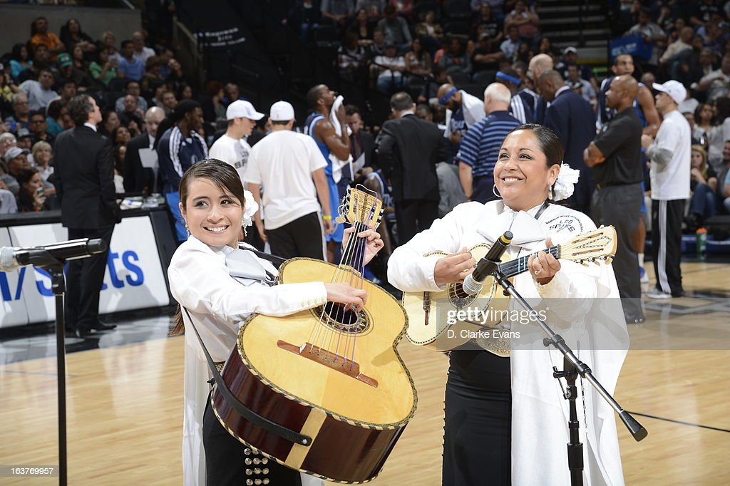 The San Antonio Spurs entertainers celebrate Noche Latina against the Dallas Mavericks on March 14, 2013 at the AT&T Center in San Antonio, Texas.