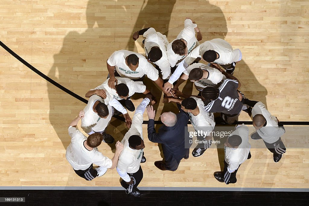 The San Antonio Spurs huddle before the game against the Atlanta Hawks on April 6, 2013 at the AT&T Center in San Antonio, Texas.