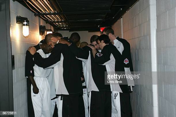 The San Antonio Spurs huddle in the tunnel prior to the game against the Minnesota Timberwolves at SBC Center on January 6 2006 in San Antonio Texas...