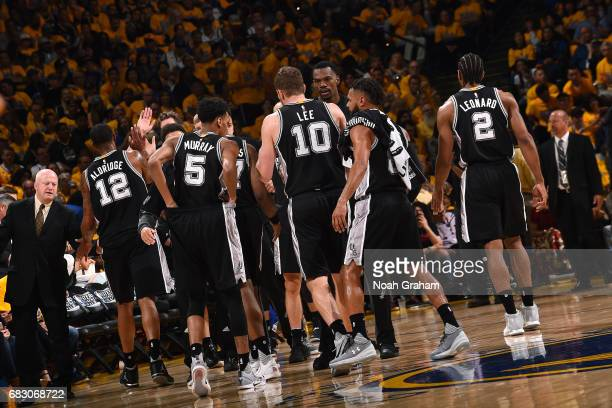 The San Antonio Spurs huddle up during the game against the Golden State Warriors during Game One of the Western Conference Finals of the 2017 NBA...