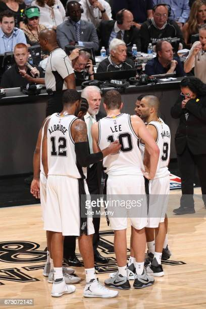 The San Antonio Spurs huddle up during the game against the Memphis Grizzlies during Game Five of the Western Conference Quarterfinals of the 2017...