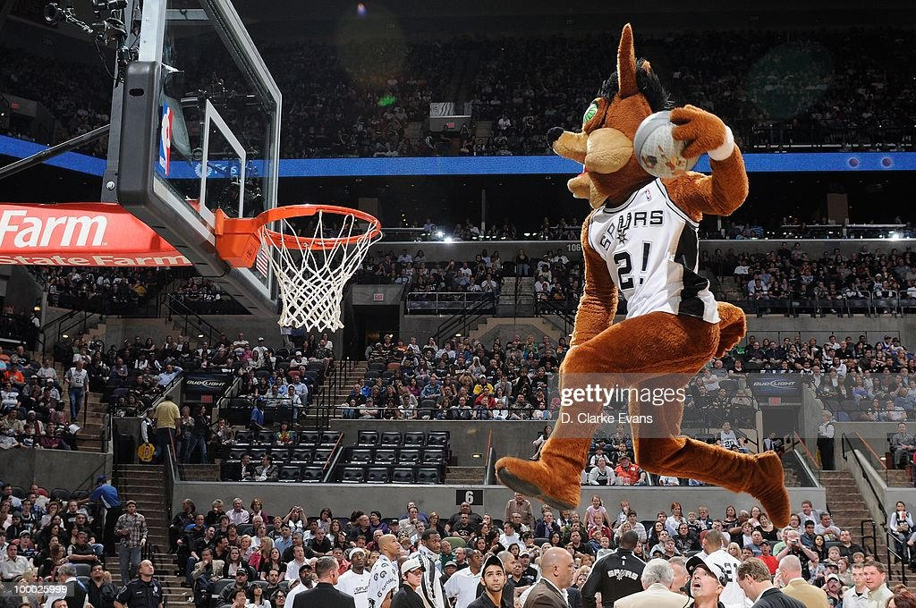 The San Antonio Spurs mascot entertains the crowd during the game against the Los Angeles Clippers on March 13, 2010 at the AT&T Center in San Antonio, Texas. The Spurs won 118-88.