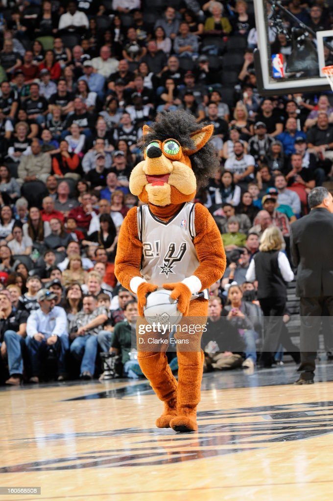 The San Antonio Spurs mascot performs during the game between the Washington Wizards and the San Antonio Spurs on February 2, 2013 at the AT&T Center in San Antonio, Texas.