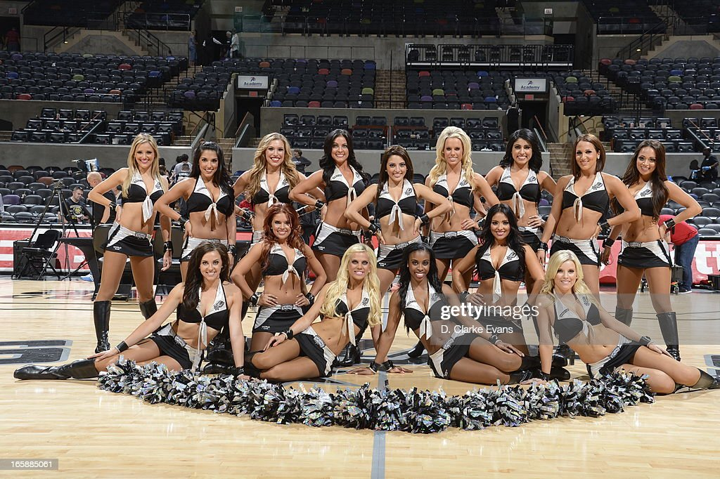 The San Antonio Spurs Silver Dance Team pose for a picture before the game against the Atlanta Hawks on April 6, 2013 at the AT&T Center in San Antonio, Texas.