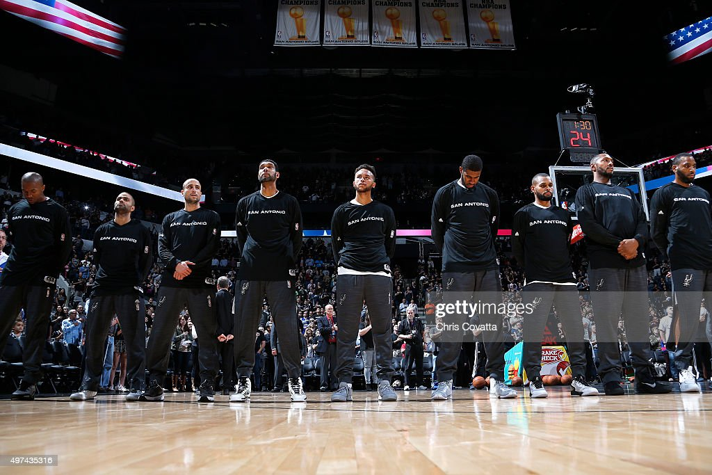 The San Antonio Spurs stand for the National Anthem before the game against the Portland Trail Blazers on November 16 2015 at the ATT Center in San...