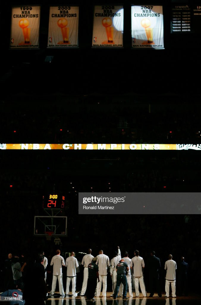 The San Antonio Spurs unveil a 2007 NBA Championship banner on October 30 2007 at ATT Center in San Antonio Texas NOTE TO USER User expressly...