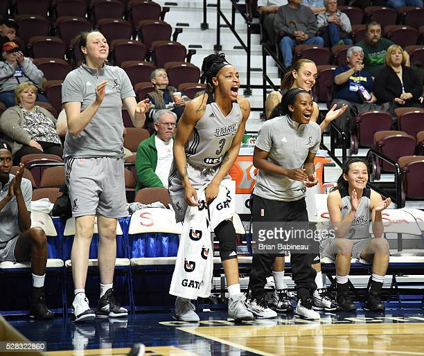 The San Antonio Stars bench celebrates during the game against the Atlanta Dream in a WNBA preseason game on May 4 2016 at the Mohegan Sun Arena in...