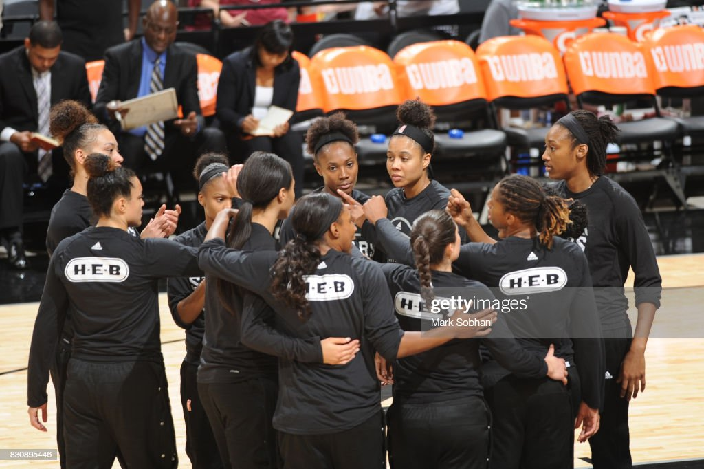 The San Antonio Stars huddle before the game against the Atlanta Dream on August 12, 2017 at the AT&T Center in San Antonio, Texas.