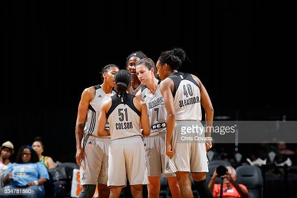 The San Antonio Stars huddle during the game against the Chicago Sky on May 27 2016 at ATT Center in San Antonio Texas NOTE TO USER User expressly...