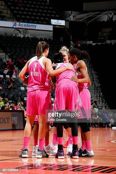 The San Antonio Stars huddle up during the game against the Dallas Wings during the WNBA game on September 9 2016 at the ATT Center in San Antonio...
