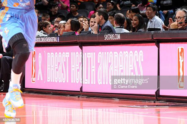 The San Antonio Stars spotlight Breast Health Awareness during their game against the Chicago Sky at the ATT Center on July 29 2014 in San Antonio...