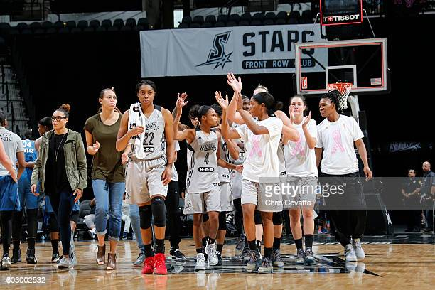 The San Antonio Stars wave to the fans after the game with the Minnesota Lynx on September 11 2016 at ATT Center in San Antonio Texas NOTE TO USER...