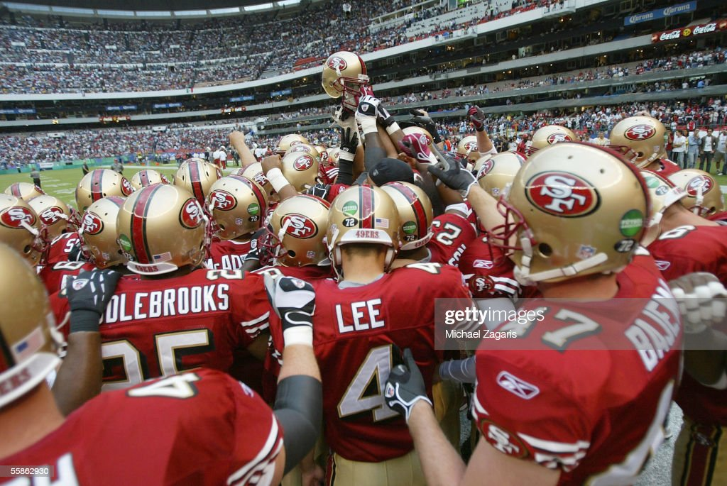 The San Francisco 49ers huddle before the game against the Arizona Cardinals at Estadio Azteca on October 2, 2005 in Mexico City, Mexico.