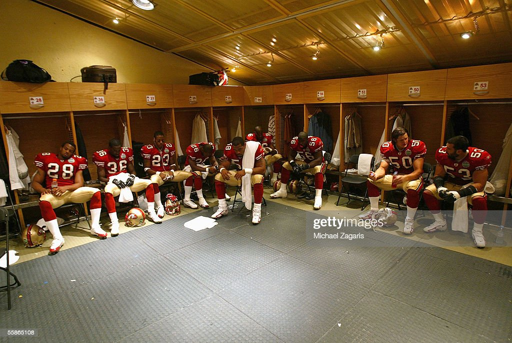 The San Francisco 49ers in the locker room before the NFL game against the Arizona Cardinals at Estadio Azteca on October 2, 2005 in Mexico City, Mexico.