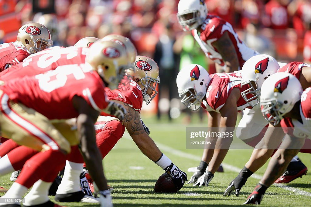 The San Francisco 49ers line up against the Arizona Cardinals at Candlestick Park on October 13, 2013 in San Francisco, California.