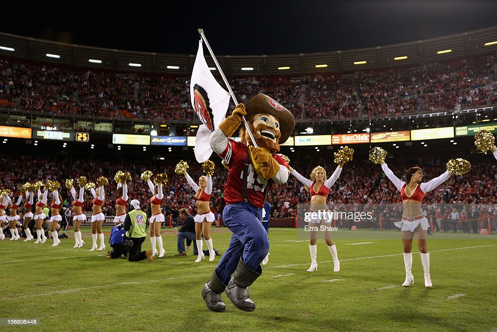 The San Francisco 49ers mascot Sourdough Sam runs onto the field before their game against the Chicago Bears at Candlestick Park on November 19, 2012 in San Francisco, California.