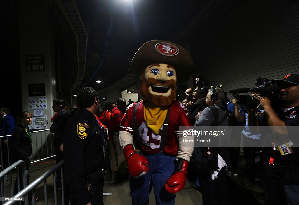 The San Francisco 49ers mascot stands in the tunnel during a power outage during Super Bowl XLVII at the Mercedes-Benz Superdome on February 3, 2013 in New Orleans, Louisiana.
