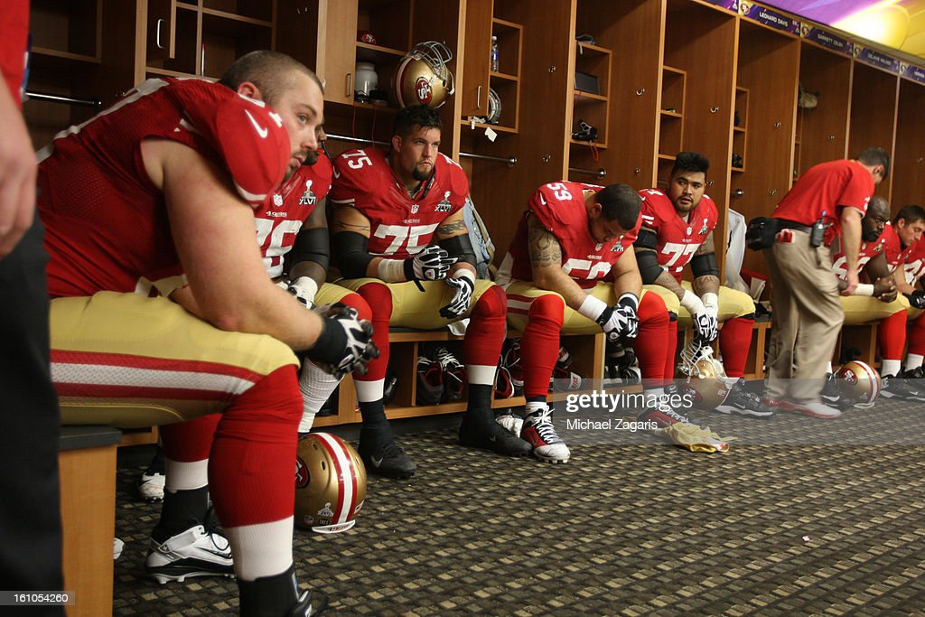 The San Francisco 49ers offensive line contemplates a comeback in the locker room during halftime of Super Bowl XLVII against the Baltimore Ravens at the Mercedes-Benz Superdome on February 3, 2013 in New Orleans, Louisiana. The Ravens won 34-31.