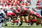 The San Francisco 49ers special teams unit attempts to block a PAT during the game against the Denver Broncos at Levi Stadium on August 17 2014 in...
