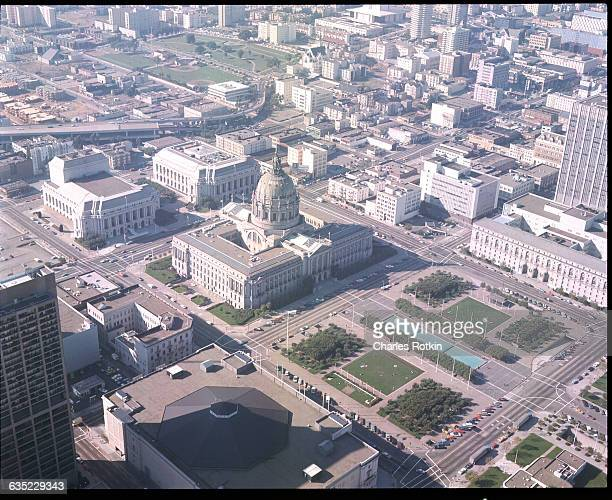 The San Francisco City Hall at the downtown Civic Center sits at the edge of a large central park California 1973