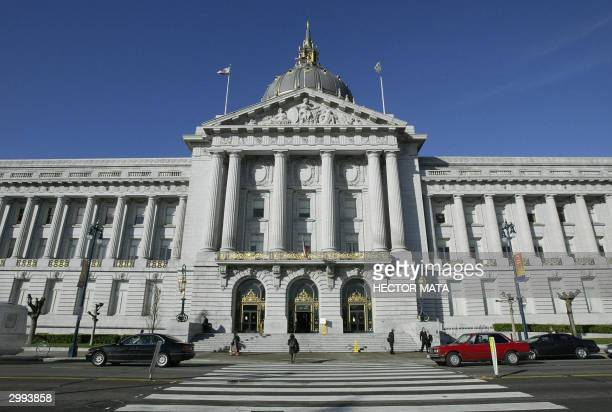 The San Francisco City Hall is pictured 18 February 2004 in San Francisco California where the local government has been issuing marriage licences to...