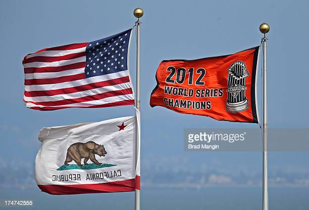 The San Francisco Giants 2012 World Series Champions banner flaps in the wind during the game against the Chicago Cubs at ATT Park on Sunday July 28...